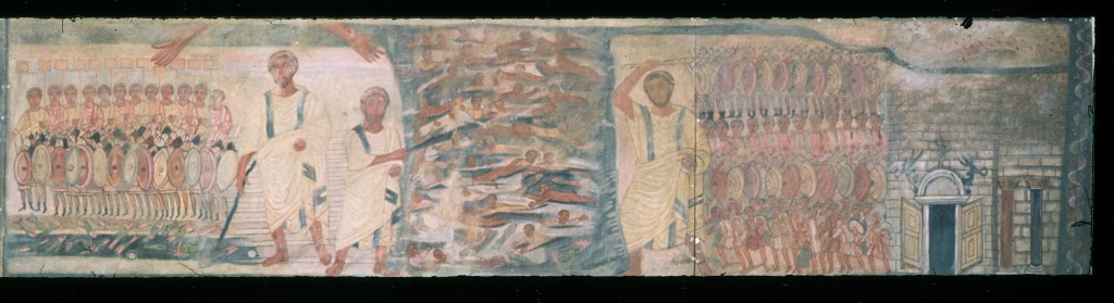 Dura Europos fresco of Exodus and the crossing of the Red Sea, copy by Herbert Gute.