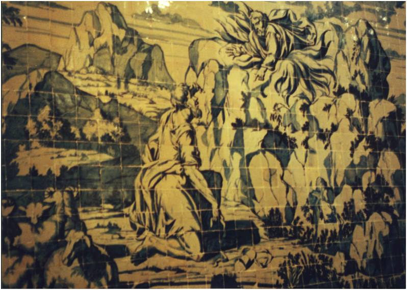 "Portugal – Lisbon, The Church of Madre de Deus, tile panel by William Van Der Kloet, c.1699. The panel illustrates an episode from the Second Book of Moses, called Exodus, Chapter 3, Moses and the Burning Bush. On the Mountain of God, Horeb (or Sinai) Moses kept the flock of his father-in-law, the angel of the Lord appeared unto him in a flame of fire out of the midst of a bush, the bush was burned with fire, and the bush was not consumed. Moses hid his face; for he was afraid to look upon God. ""Go, and gather the elders of Israel together, and say unto them, 'The Lord God of your fathers, the God of Abraham, of Isaac and of Jacob, appeared unto me, saying, I have surely visited you, and seen that which is done to you in Egypt: and I have said, I will bring you up out of the affliction of Egypt unto the land of the Canaanites, and the Hittites, and the Amorites, and the Perizzites, and the Hivites, and the Jebusites, unto a land flowing with milk and honey'."" The concept of ""burning without being consumed"" has a parallel in the New Testament and is related to the ""immaculate conception"". This cult was brought by the Franciscans to Portugal and the Convent of Madre de Deus belongs to the sect of Santa Clara de Assis."