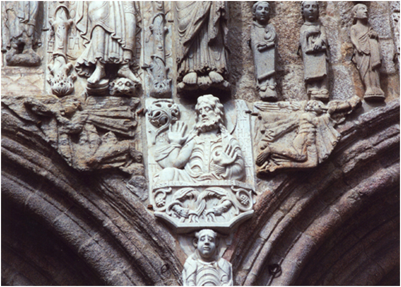 Spain – Santiago de Compostela, Cathedral, The Platerias (Silversmith) Façade, a detail of the centre of the frieze showing Abraham.