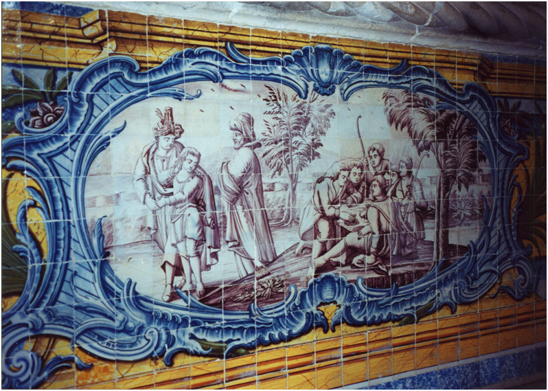 Portugal – Lisbon, The Mosteiro dos Jeronimos, Ancient Refectory, 16th Century. The walls are panelled in tiles (1780 – 1785) and scenes from the life of Joseph are depicted on the side walls. The jealous brothers sell Joseph to the merchants on their way to Egypt.