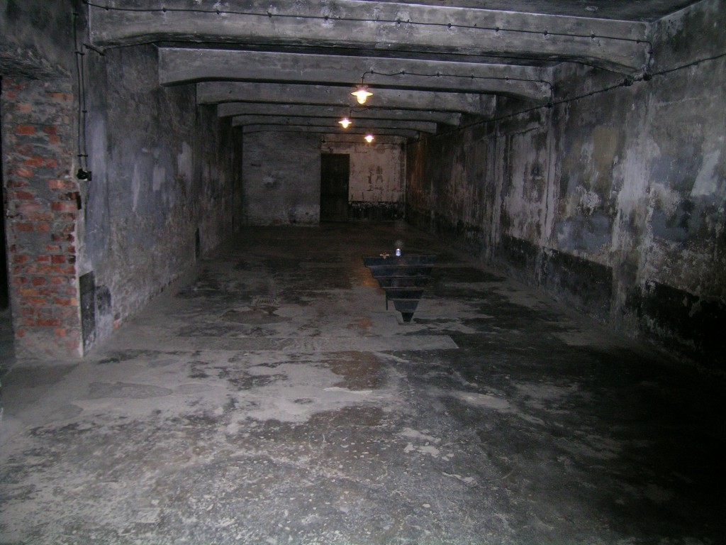 SS officers told the victims they were to take a shower and undergo delousing. The victims would undress in an outer chamber and walk into the gas chamber, which was disguised as a shower facility, complete with dummy shower heads. After the doors were shut, SS men would dump in the cyanide pellets via holes in the roof or windows on the side. The Nazis used a cyanide gas produced from Zyklon B pellets. This gas chamber operated from 1941 to 1942, during which time some 60,000 people were killed therein; it was then converted into an air-raid shelter for the use of the SS.
