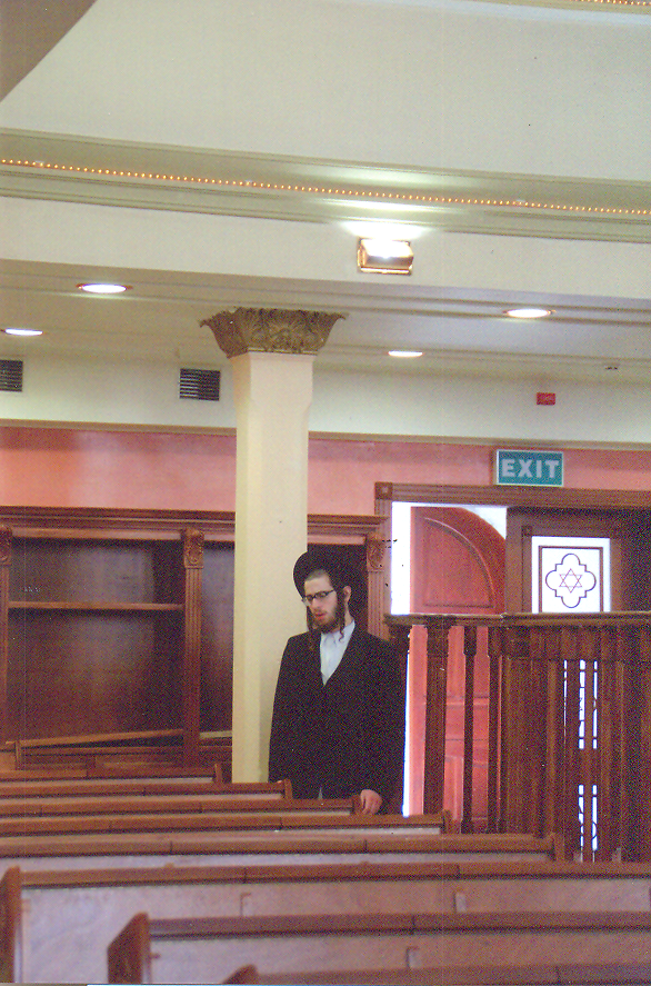 The Hasidim wear distictive clothing; black suits and black hats, side-curls and beards for men.