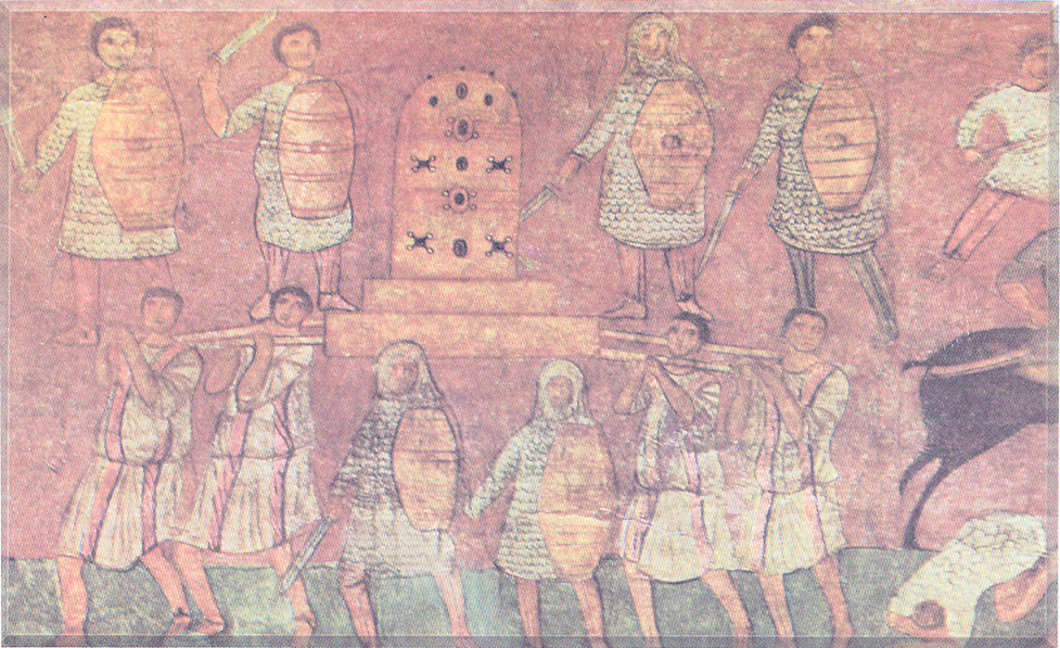 The Philistines taking the Ark of the Covenant. In the early 200s CE, a synagogue was built at Dura Europos. The most striking element of the decoration is the presence of figural paintings. The frescoes were surprising to scholars since many thought that early synagogue decoration adhered to the prohibition against figural images in the biblical second commandment. Few synagogues with such painted decoration are known, the Dura Europos example is not unprecedented. Wall paintings are characteristic of other religious buildings at Dura Europos, and their use in the synagogue could be explained as conformity to local custom. The Jewish community was liberal in its attitude toward the scriptural injunction against images.(artgallery.yale.edu/duraeuropos). Syria – Damascus, National Museum, Dura Europos Synagogue.