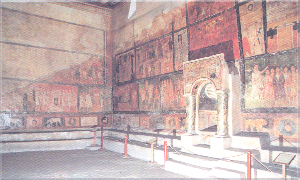 Wall paintings from Dura Europos Synagogue's reconstructed assembly room, installed at the National Museum in Damascus. Oldest of the murals was painted in the 240s CE.
