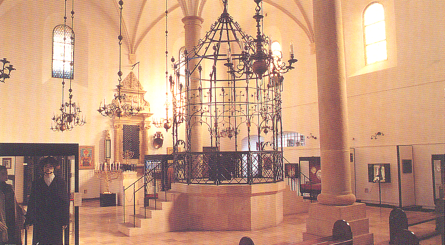 The interior of the Old Synagogue , now housing a Jewish History museum.
