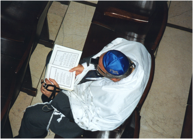 Before weekday morning worship a Jew is reading the Holy Book in the synagogue. His tephillins: a black prayer box strapped to the forehead and the black leather straps of the other tephillin, which is on the left upper arm near the heart, are clearly visible.