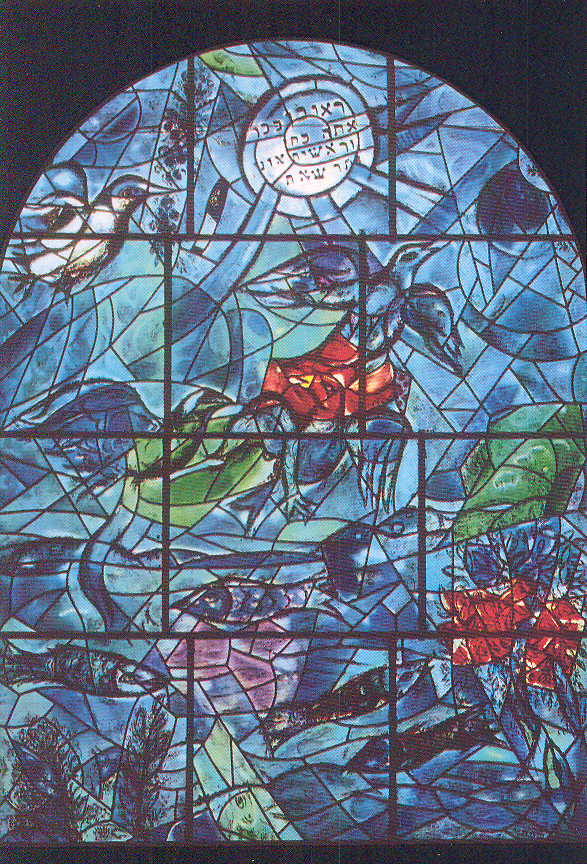 "Chagall Windows Famous Jewish artist Marc Chagall designed the 12 stained glass windows of the synagogue at Hadassah Medical Center, Jerusalem. The set depicts the twelve tribes of Israel. As this is a place of worship, photography is not permitted. But the gift shop next door sells postcards. The windows were installed February 1962. Chagall agreed to the project, promising to complete the windows free of charge. Each window is 11 feet tall and eight feet wide. Once unveiled, the windows were immediately heralded as a success. They have been on exhibit at the Louvre and the Museum of Modern Art in New York, and are still a major point of attraction in Jerusalem. Reuben (light blue) ""Reuben, you are my first-born. My might and first fruit of my vigor. Exceeding in rank and exceeding in honor. Unstable as water, you shall excel no longer."""