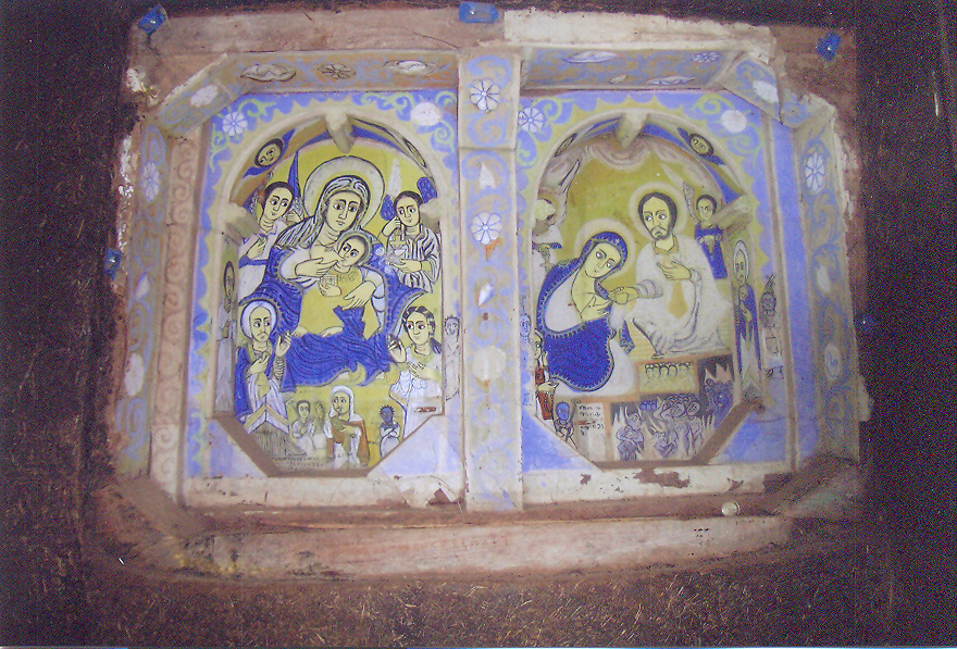 Virgin nursing Jesus. Ethiopia – Lake Tana, the Monastery of Ura-Kidanemeret