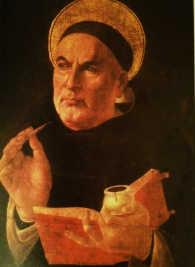 Thomas Aquinas was the most learned of the saints, the greatest of the medieval schoolmen, famous for his intellect. He decided to become a Dominican friar. Studied under Albertus Magnus, who mistakenly thought him stupid, nicknaming him'the dumb Sicilian ox'. A great preacher, lecturer and writer. He had mastered Plato, Aristotle and Arabian philosophers as well as Christian theology. He was preoccupied with his intellectual life, and sometimes forgot where he was. His work, the Summa Theologica, which was to contain the entirety of Christian theology, including answers to all conceivable objections, was never finished. He died at the age of 48. He is the patron saint of academics, apologists, book sellers, Catholic schools, chastity, colleges, learning, lightning, pencil makers, philosophers, publishers, scholars, schools and students. Portrait by Sandro Botticelli.