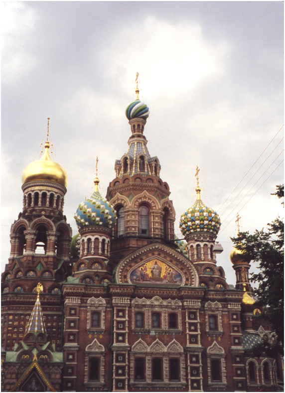 Russian Federation - St. Petersburg, The Cathedral of The Resurrection, with onion-domed towers.