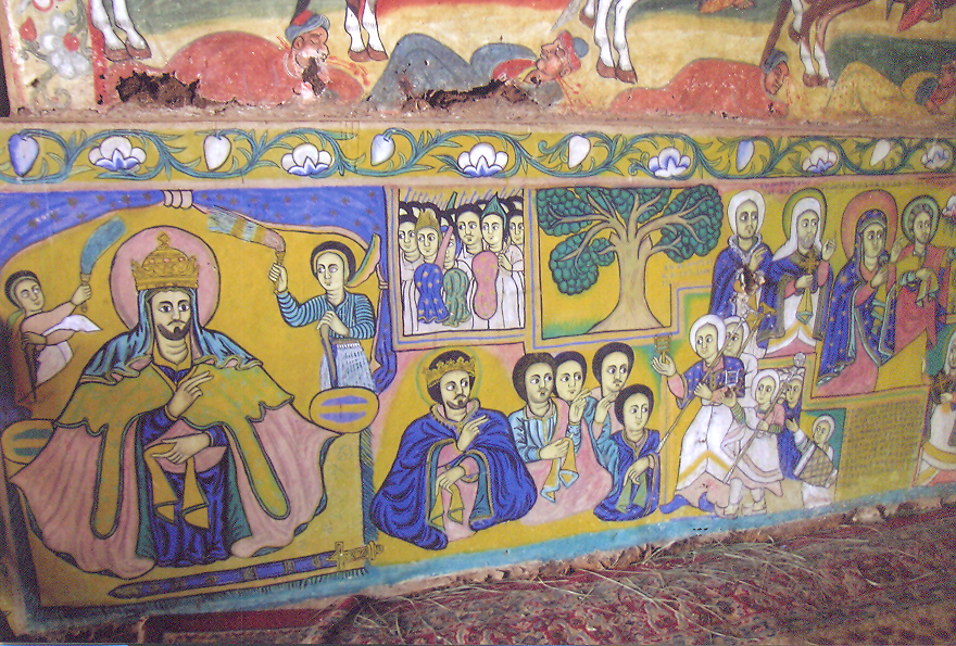 Ethiopian churches are decorated with many beautiful murals. Aimed at unsophisticated country folk, these paintings convey their messages with simple but vivid clarity. Ethiopia – Lake Tana, the Monastery of Ura-Kidanemeret