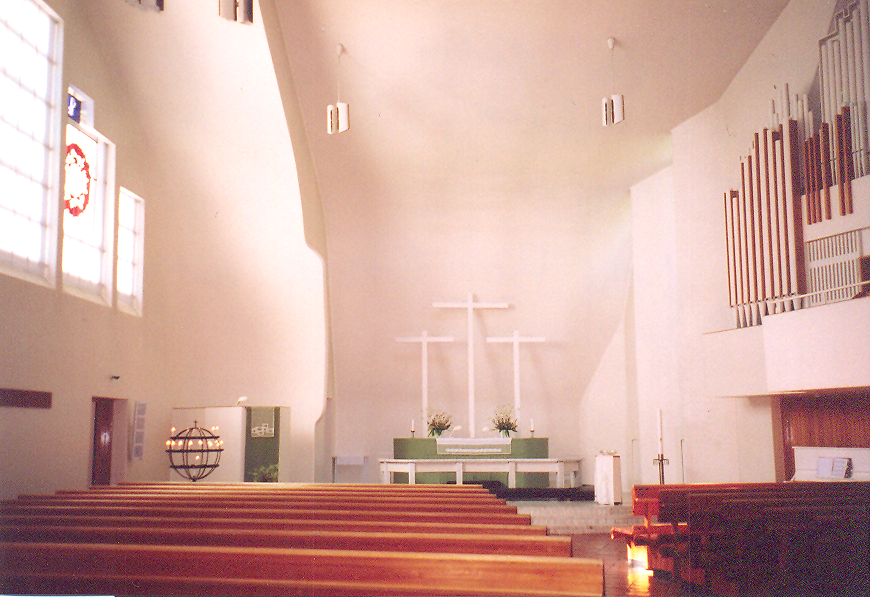 A Protestant Church. Church of the Three Crosses, 1955-1958, architect Alvar Aalto. Finland – Imatra.
