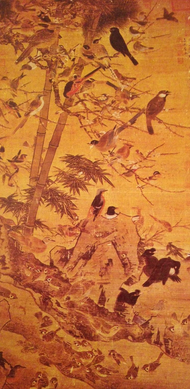 1400-1430 yılları arasında, sanatçı Pien Wen-chin tarafından, ipek üzerine mürekkep ve boya ile yapılmış bu tablonun adı Üç Arkadaş ve Yüz Kuş. Bu ipek rulo, çizim zenginliği ve kuş-çiçek geleneğini takip ettiğini gösterek Ming dönemi tablosu olduğunu belli ediyormuş.