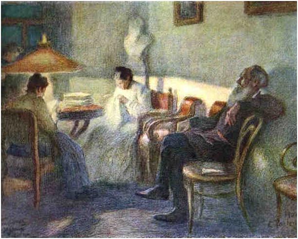 Leonid Osipoviç Pasternak, Lambanın Altında Tolstoy ve ailesi, 1902, Rus Müzesi, St. Petersburg.