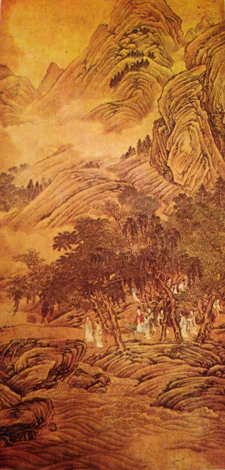 Çing Hanedanı dönemine ait İlkbahar Bayramı adlı tablo. Çing dönemindeki daha özgür yorumlara bir örnek oluşturan bu tablo, ABD'de, Kansas'ta, Nelson Galeri'de sergilenmektedir.