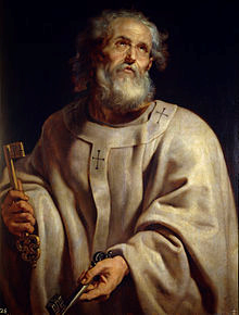 St. Peter; Apostle, Pope, Christian martyr and preacher with the keys of the Kingdom of Heaven. Saint Peter as Pope by Rubens