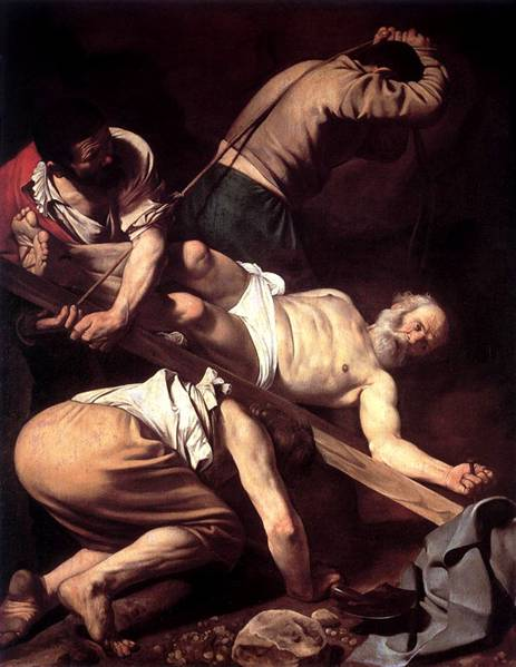 By tradition, St. Peter was crucified upside down at his own request, because he felt unworthy to die in the same way as his master. The Church in Rome always regarded him as the first Bishop of Rome and the first Pope; accordingly his remains were buried deep under the high altar of St. Peter's Basilica. In the 1950s the bones of a tall, strongly-built old man were found in exactly the expected place. Crucifixion of St. Peter, Caravaggio, Santa Maria del Popolo, Rome, Italy.