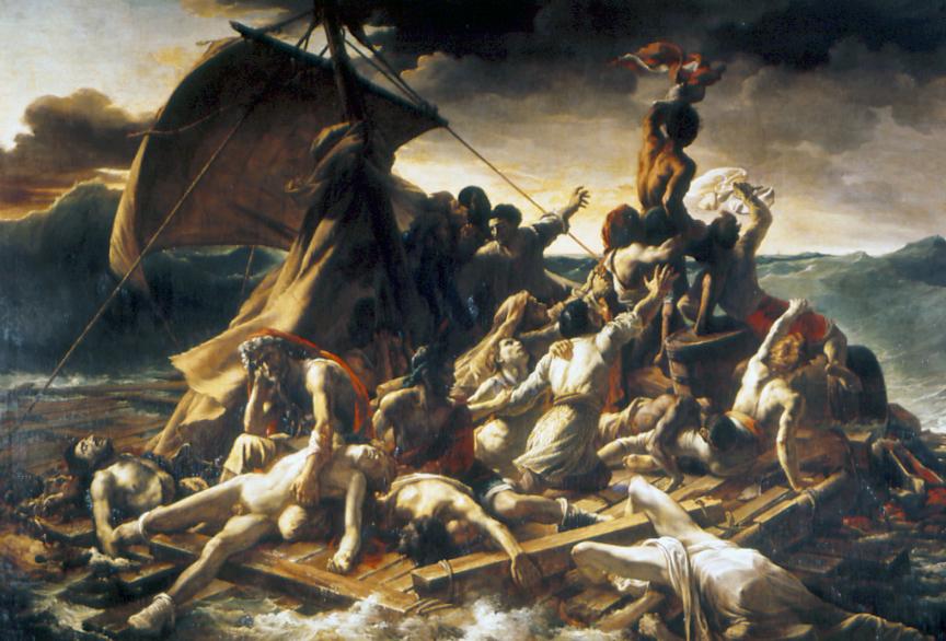Louvre Müzesi'nde sergilenmekte olan, romantik resmin doruk yapıtlarından biri olarak kabul edilen, Théodore Géricault'nun en ünlü tablosu Medusa'nın Salı. Tablo, bir Fransız gemisinin kayalara bindirerek batışı sonucunda bitkin düşmüş ve deliliğin sınırlarına varmış kazazedelerin ufukta bir yelkenli gördükleri duygusal anı yansıtmaktadır. Yapıtlarındaki piramit biçimli hareket, ters ışık uygulamaları, dehşet ve çılgınlık sahneleri, ayrıntıların gerçekçiliğine rağmen onu Romantizm'in temsilcilerinden biri yapmıştır. Medusa'nın Salı, yıkım, acı ve yoksunlukla biçimsizleşmiş vücutlar ve yüz ifadeleri, kalın ve yoğun boya tabakalarındaki yalın ve gerçekçi tekniği ile Goya'ya yaklaşır.