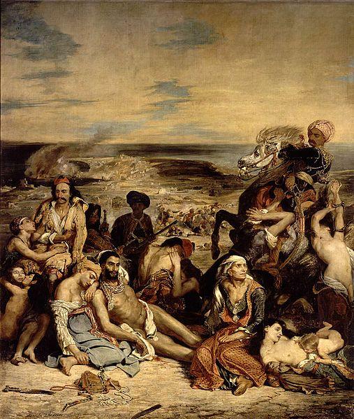Eugéne Delacroix'nın Avrupa'nın en önemli diplomatlarından, Fransız Dış İşleri Bakanı Talleyrand'ın evlilik dışı oğlu olduğu söylenir. Sakız Adası Kırımları adlı tablosunda 1822 yılında kılıçtan geçirilen Yunanlıların trajik öyküsünü dile getirir. Bu yapıt, yalnızca bir siyasal tavır alış değil, aynı zamanda gerçek bir romantizm bildirisi ve o yıl asiler arasında can veren Byron'a bir sungudur.