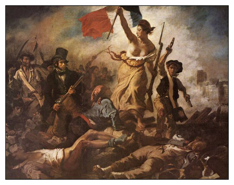 Halka Yol Gösteren Özgürlük, Fransız resim sanatının başyapıtlarından biri olarak kabul edilir. 1830 senesinde Kral X. Charles'in devrilişine yol açan üç günlük halk ayaklanmasının anısına yapılmıştır. Tüm dünyada Fransız Devrimi'nin simgesi kabul edilmektedir. Resimde, özgürlüğü simgeleyen bir kadın, bir elinde Fransız bayrağı, diğer elinde ise bir tüfek taşıyarak yürümekte, peşinden gelen devrimci insanlara barikatları aşmada öncülük etmektedir. Elbisesi yırtıktır, göğsü ve ayakları çıplaktır, başında özgürlük simgesi olan Frigya başlığı vardır. Bir yanında yoksulları temsil eden, her iki elinde de birer tabanca taşıyan bir çocuk, öbür yanında burjuvaları temsil eden, eli tüfekli, başında silindir şapka olan bir adam vardır. Çatışma içindeki bir şehirde, yerdeki yaralıların ve ölülerin arasından geçmektedirler. Bu tablo, modern resim sanatının ilk politik çalışması olarak kabul edilmektedir. Louvre Müzesi'nde sergilenmektedir. Resimdeki eli tabancalı çocuk figüründe Victor Hugo'nun Sefiller romanındaki Gavroche karakterinden esinlenildiği düşünülmektedir. Silindir şapkalı adamın kim olduğu konusu tartışmalıdır. Bazıları ressamın kendisini çizmiş olduğunu söylemektedir, bazı iddialara göre ise bu figürü çizerken ressam tiyatro yönetmeni Etienne Arago'yu model almıştır. Delacroix, bu resmi 1830 yılının sonbaharında yapmıştır. İlk olarak Mayıs 1831'de sergilenmiştir. Eleşirmenler, resimde özgürlüğün kıllı, yarı-çıplak ve pis bir kadın olarak simgelenmesini eleştirmişlerdir. Fransız hükümeti tarafından 3000 frank ödenerek satın alınmıştır. Krala kendisini tahta getiren Temmuz Devrimi'ni ve devrimi yaratan halkı hatırlatacak bir eser olarak Lüksemburg Sarayı'nda sergilenmesi uygun görülmüştür. Ancak kışkırtıcı nitelikte bir politik mesaj taşımakta olan bu tablo, sadece birkaç ay Saray Müzesi'nde kalabilmiş, başlangıçta eseri çok seven Kral Louis Philippe, siyasi geleceğinden endişe etmeye başlayınca bu tablodan rahatsız olup onu sarayından atmak istemiştir. Ressamın ta