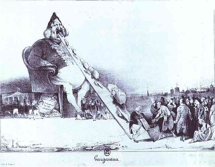 Halkın yoksulluğuna, yönetici sınıfların adaletsizliğine ve zulmüne tanık olan Honoré Daumier, gerçekçi romantizmi ile yeteneklerini ezilenlerin hizmetine sunup öfkesini dile getirir. Mevcut iktidara karşı, adalet örgütüne karşı, keyfi baskılara karşı yaptığı siyasi karikatürleri, taş baskıları ya da resimleri bütün romantik kavramları kapsar. Özgür ifade tarzı, coşkun üslubu ve dinamizmi de romantiktir. Armut biçiminde, Gargantua adını verdiği, 1831 tarihli taş baskısında kralı, Louis Philippe'i çizdi. Bunun sonucu olarak altı ay hapse mahkum oldu. Mevcut iktidarı destekleyenlere, yani burjuvalara karşı tavır aldı.  Jürilerin sürekli düşmanlığı karşısında öcünü taş baskılarla aldı. Hapishaneden çıkınca parlamenterlerin bir dizi renkli pişmiş toprak büstlerini yaptı. Bu çalışmalar 1930'larda bronza döküldü.