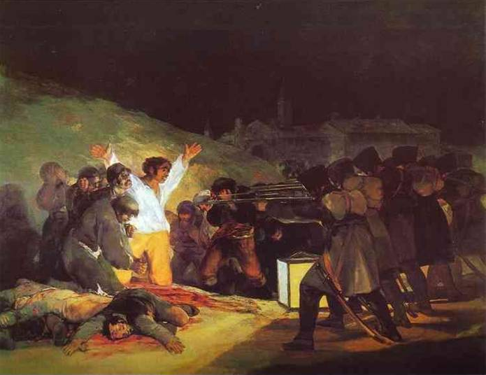 Fransız – İspanyol Savaşı'na katılan Francisco Goya (1746-1828), toplumsal çalkantıların çözümleyicisi, savaşların iğrençliklerinin yansıtıcısı olarak yaptığı tablolardan biri olan Üç Mayıs adlı eserinde ve diğer eserlerinde aşırı kişiselleştirme, portrelerindeki dışavurumculuk, kösnül bakış açısı, düşsel koreografiye dönüşen toplumsal çözümleme, savaşın suçlanması ile Goya'nın yapıtları tümüyle romantizmden kaynaklanır. Resim tekniği bilinçaltına inmeyi amaçlar. Çizgiler giderek ortadan kalkar, yüzler buruşuk maskelere, karikatüre, ölüye dönüşür. Goya, düşsel dışavurumculuğun sanatçısıdır.