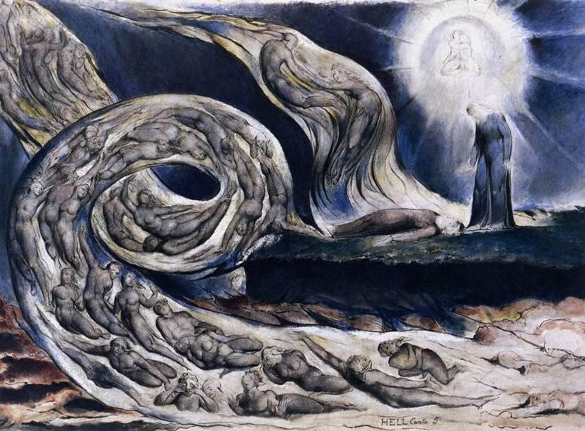"""Ressam, gravürcü ve şair William Blake (1757-1827), İngiliz resminin en önde gelen ve tam anlamıyla romantik kişiliğidir. Krallık Resim Akademisi'nde Reynolds ile çalışmış, edebiyatın klasiklerini de resmetmiştir. Yukarıdaki tablosu, Dante'nin İlahi Komedya'sından Cehennem'i ve Dante ile Beatrice'nin buluşmasını göstermekte, 1824 tarihini taşımaktadır. Evrene melankolik bakışıyla, karmaşık düşleriyle bir romantiktir. Günümüzde sembolizmin öncülerinden biri olarak kabul edilir. Blake çocukluğundan beri hayaller görüyor, Tanrı'yı ve yıldız kanatlı melekler gördüğünü söylüyordu. İleri yaşlarında, şiirlerinin ve desenlerinin """"Yukarıdan"""" indirildiğini söyler oldu. Edebi yapıtlarında kehanetlerde bulundu. Simgeler aracılığıyla her türlü zorbalığa saldırdı. Usun karşısına, üstün tuttuğu sezgiyi koydu."""