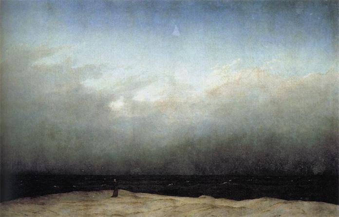 """Alman romantik resminin öne çıkan temsilcilerinden biri  Caspar David Friedrich'dir (1774–1840). 1809 tarihli Deniz Kıyısındaki Keşiş hiç kuşkusuz onun tabloları arasında bir başyapıt ve bütün bir Alman Romantisizmi içerisindeki en cesur resimdir.  Resmin kompozisyonu bütün gelenekleri yıkıyor. Resimde herhangi bir perspektif derinliği bulunmuyor. Siyah giysili küçük insan figürü resimdeki tek dikey figürü oluşturuyor. Friedrich'in adamın iki yanında yapmayı tasarladığı iki teknenin ise üstünü sonradan boyadığı biliniyor. Bütün hatlar tablonun dışına doğru yönlendiği için sonsuzluk resmin gerçek konusu haline geliyor. Tablosunda, doğa güçleri karşısında insanın büyük yalnızlığını ve bunun sonucu olan yıkımı dile getirir. Küçücük bir siluet olan keşiş, bize doğa güçlerinin ortasındaki insan varlığını ve önemsizliğini anımsatmaktadır. Elbe'de boğulan erkek kardeşinin onun doğa tapıncında payı olduğu düşünülebilir. Tablo, kederli ve bomboş, hemen hemen """"sürrealist"""" bir evrenin habercisidir. Ressamın karşısında gördüklerini değil, kendi içinde gördüklerini tuvaline geçirmesine inanan Friedrich'in romantizmini etkileyen görünümler Kuzey Almanya'ya aittir. Sanatını derin bir doğa bilgisi üzerine oturtmuştur.  Schelling'in düşüncesine ve romantik felsefeye uygun olarak, Görünmeyen'in belirtisini görür. Peyzajları, metafizik ve trajik boyutlarıyla peyzajın doğaüstüleştirilmesine yöneliktir. Dresden'e yerleştikten sonra Kleist, Novalis, Runge gibi büyük Alman romantiklerle ve Goethe ile ilişki kurmuştur. Bu resim 1810 yılında Prusya Kraliyet Prensi tarafından satın alındı. Prensin tabloya yaptığı yorum, """"Gökyüzünün sonsuz genişliği ... buna karşılık ne bir rüzgâr, ne bir Ay, ne de fırtına var — gerçekte bir fırtına biraz teselli verici olurdu çünkü hiç değilse resmin bir yerlerinde hayat ve hareket görülebilirdi. Sonsuz denizde ne bir tekne, ne bir gemi, ne de bir deniz canavarı var. Ve kumların üzerinde tek bir sap ot bile yok, sadece birkaç martı havada uçuyor ve yalnızlığ"""