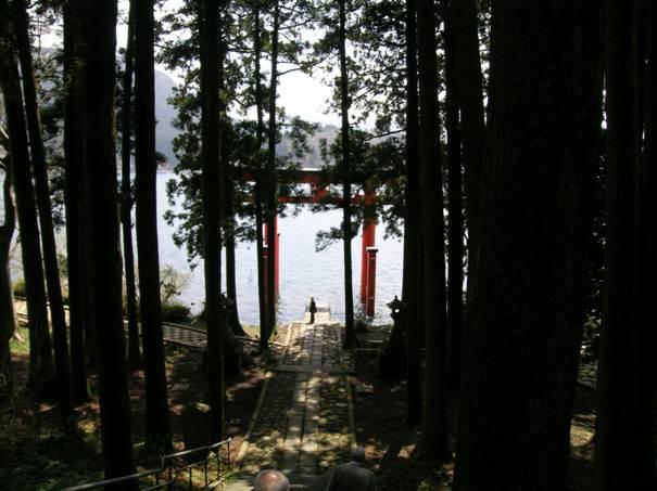 Hakone Cinca'nın Ashi Gölü kıyısındaki torii.