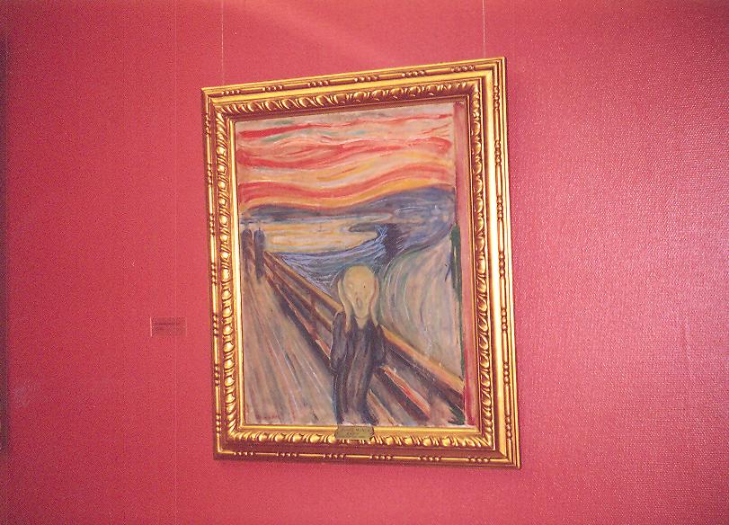 Sanatçılar, korkularını eserlerinde nesnelleştirerek onları saran kaygıları saptamaya çalışırlar. Oslo Ulusal Müze'de sergilenmekte olan Edvard Munch'un Çığlık adlı tablosu.