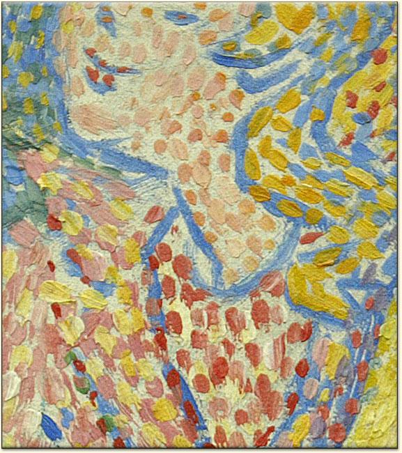 Georges Seurat (1859-1891). Sanatçının 1890 yılında yaptığı Sirk adlı tablosundan detay. Renkleri sanatçı karıştırmıyor, renkler optik algılama ile karışıyor.