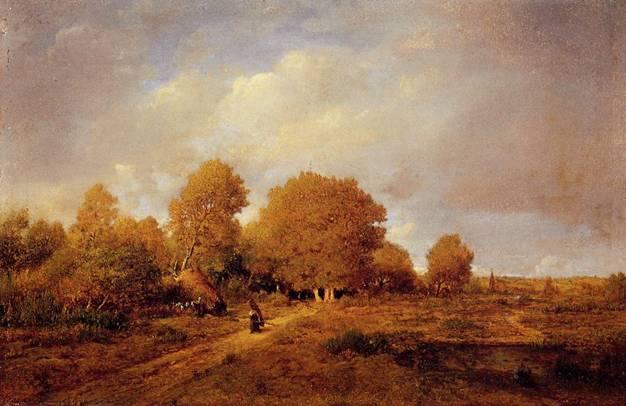 Théodore Rousseau'nun 1860 yılında yaptığı Odun Taşıyan Kadın adlı özel koleksiyonda yer alan tablosu.