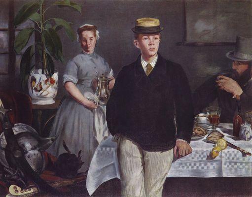 Eduard Manet (1832-1883) birden fazla sanat akımı için önemlidir: Klasik, Realist, Empresyonist ve Modern. Formu Klasik, konusu Realist tablolar yapmış; Realizmden Empresyonizme geçişte önemli bir rol oynamış; çizildikleri düz yüzeyleri vurguladıkları için, düz bir yüzeyde resme bakıldığını net bir biçimde belli ettikleri için tabloları ilk Modernist tablolardan sayılmıştır.