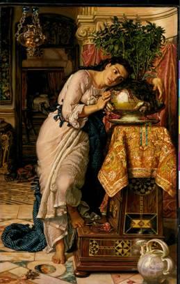 William Holman Hunt, 1867, İzabel ve Bazil'in Kabı. Bocaccio'nun Dekameron öykülerinden biri ve John Keats'ın şiiri.