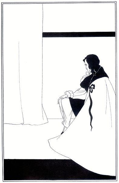 Aubrey Beardsley, Edgar Allen Poe'nun kısa öyküleri için yaptığı illüstrasyonlardan, 1894-5. Çizimlerini genellikle siyah mürekkep ile yapıyordu. Dekadan ve  groteski vurgulayan çizimlerinin yanı sıra erotik çizimleri de vardır.