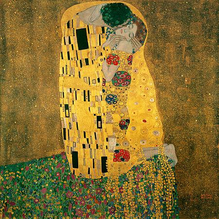 Gustav Klimt, Öpücük, 1907-8. Klimt'in en gözde tablolarından. Sanatçı bu tablonun çeşitlemelerini de yapmıştır. İşin dedikodu kısmına bakarsak, Klimt'in 14 gayrımeşru çocuğu olduğu, dördünün mirastan yararlanabildiği söylenir.