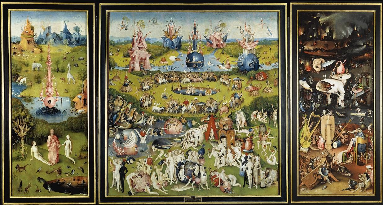 Dünyevi Hazlar Bahçesi, Hieronymus Bosch (1450-1516). Bu triptik eser Thomas More'a Ütopya'yı yazma ilhamını veren aynı ortamdan, aynı kaynaktan esinlenmiştir. Hans Belting, Dünyevi Hazlar Bahçesi adlı kitabında mükemmel topluma ilişkin ütopya vizyonunun edebi bakış açısından karşıtı Bosch'un asalak insan vizyonudur. More'un adası, Bosch'un cennetinden daha fazla bu dünyanın parçası değildir. Belting triptikin orta panelini, resimli ütopya olarak yorumluyor ve Thomas More'un Ütopya adlı eseri ile bağlantılı olarak dönemin ruhuna değiniyor. Belting, keşifler çağında mükemmel toplumun görsel ve sözel ifadelerine duyulan bu ilgiyi, ütopyanın hem hayret hem de korku kaynağı olmasıyla açıklıyor. Bosch'un hayali cennetine insan vücudunun resimli ütopyası olarak bakabiliriz.