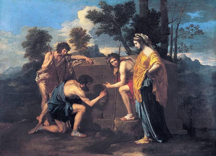 Arkadya Çobanları (1630'ların sonu) Nicolas Poussain'in iki kere resmini yaptığı bir konudur. Bu kompozisyonunda, idealleştirilmiş çobanlar, Et in Arcadia ego (Arkadya'da bile ben varım) cümlesi yazılı bir mezarı incelemektedirler. Ölüm, Vergilius'un ütopik Arkadya'sında bile olacaktır. Tablolar Chatsworth and Louvre Müzelerindedir.