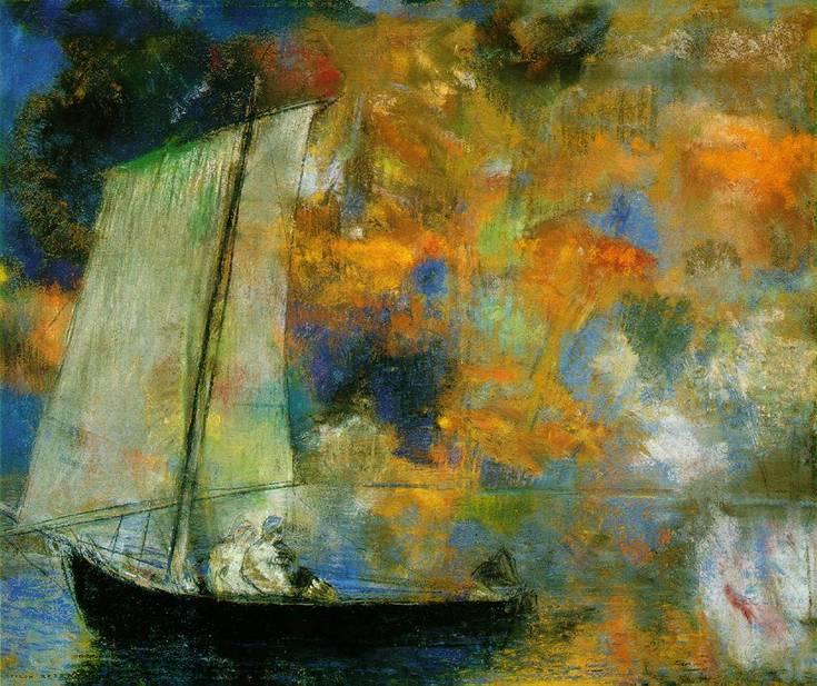 Odile Redon'un (1840-1916) Chicago Sanat Müzesi'nde sergilenmekte olan 1903 tarihli Çiçek Bulutları adlı tablosu.