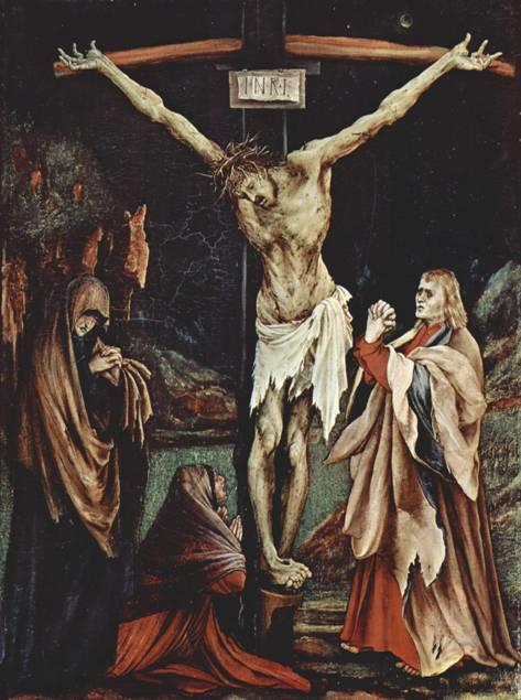 National Gallery of Art, Washingon DC'de sergilenmekte olan Grünewald'ın Hıristiyanlığı hikaye ettiği bazı tablolarında İsa neredeyse çürümüş, etrafındakilerin de kendilerini ne kadar kötü hissettiği yüzlerinden okunuyor. Vücutlar da stilize edilmiş (1510).
