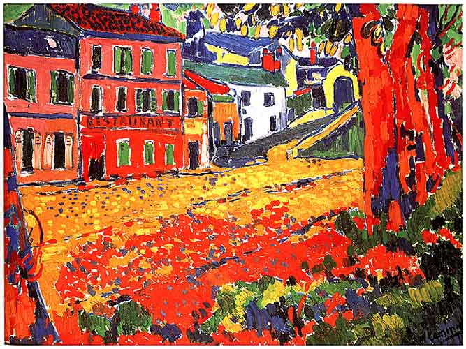 Maurice de Vlaminck (1876-1958), Marly-le-Roi'daki Restaurant, 1905. Van Gogh'u babasından bile çok sevdiğini söyleyen bu sanatçı en önemli Fovlardan biridir. Bu tablosu da renkçi tablolara iyi bir örnektir.
