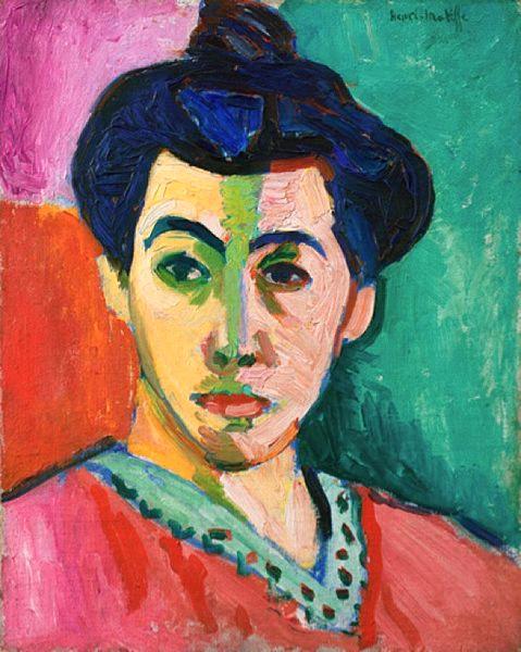 Henri Matisse'in 1905 tarihli Statens Sanat Müzesi'nde sergilenmekte olan, Madam Matisse'in Portresi veya Yeşil Çizgi adlı eseri. Danimarka, Kopenhag.