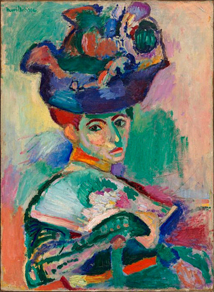 Henri Matisse'in San Francisco'da Modern Sanat Müzesi'nde sergilenmekte olan 1905 tarihli, Şapkalı Kadın adlı tablosu.