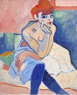 André Derain'in Elbiseli Kadın adlı tablosu.