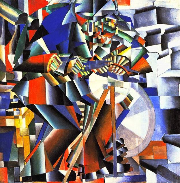 Malevich de birçok modern dönem sanatçısı gibi çeşitli akımlarda eser vermiştir. 1912-13 yılında yapmış olduğu The Knife Grinder, Kübo-Fütürist bir tablodur. Kübizm'in nesneleri parçalara ayırma tekniği ile Fütürizm'deki görüntünün çoğaltılması anlayışını bir arada kullanmıştır.
