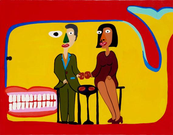 """İsimsiz, 2009. Daha çok filmleri ile tanınan Kitano, Paris'te Fondation Cartier pour l'art contemporain'den aldığı davet üzerine açtığı kişisel sergide, enstalasyonlarını ve tablolarını sergiledi. Tabloları daha önce filmlerinde de yer almıştı. Fondation Cartier, sergileme için Kitano'yu tamamen serbest bırakmıştı. Kitano, sanatın tanımını kanıksanmışın dışına taşıyarak, sanatı daha az ukala, daha serbest, herkese ulaşabilen ve herkesin ulaşabildiği bir konuma sokmak istediği için bu sergi ile sanatın tanımını esnetmeyi denediğini ifade etmişti. (Bu ifadeler, başlattığımız """"Çağdaş Sanata Varış"""" dosyamızın amacı ile bire bir örtüşmektedir.) Çocuklara da hitap etmek istediği için serginin bir bölümünü oyun sahasına dönüştürmüştü."""