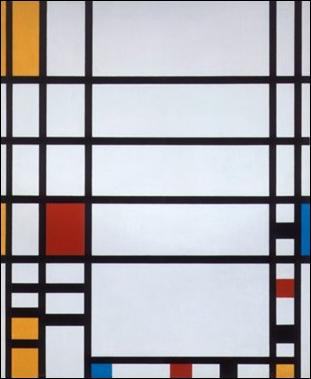 """Piet Mondrian soyut resmin öncülerindendir. Tablolarını çerçevesiz sergilemiştir. Yapıtlarıyla 20. yüzyıl grafik sanatlarını ve mimarlığı derinden etkilemiştir. Resimleri kendisiden sonra gelen """"Geometrik Soyutlama"""" akımının habercisidir. Geometriyi bir resim dili gibi kullanmıştır. Paris yıllarında Pablo Picasso ve George Braque gibi Kübizm akımının temsilcilerinden etkilenmiştir."""