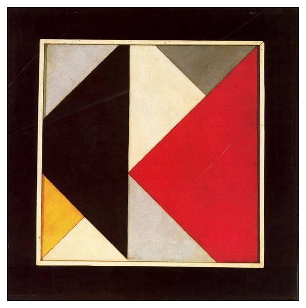 Theo van Doesburg, Karşı Kompozisyon XIII (1925-26), Peggy Guggenheim Koleksiyonu, Venedik. Theo van Doesburg ve De Stijl hareketinden diğer ressamlar, doğal formu resimlerinden dışladılar. Çünkü bunun saf estetik ifadeyi engellediğine inanıyorlardı. De Stijl hareketinin düz, geometrik resimlerinden biri olan Karşı Kompozisyon XIII renk, şekil ve yüzey ile resmin sadece biçimsel niteliklerine vurgu yapar. Uzam derinliği oluşturma çabası yoktur. Bir anlatı ya da öykü sunmak için bir çaba sarf edilmemiştir.