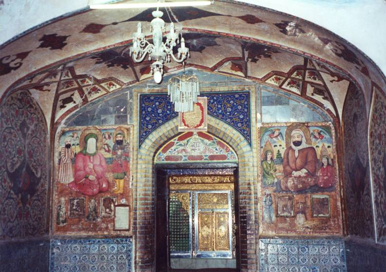 Iran – Esfahan, Harun Velayeti or Emamzadeh Tomb. On the left Prophet Mohammed with Salman Farisi and Imam Ali; On the right, Imam Ali with his sons Imam Hasan and Imam Huseyn. The Prophet's face is hidden by a veil, to show His elevated status and because in Islam it is forbidden to depict His image.