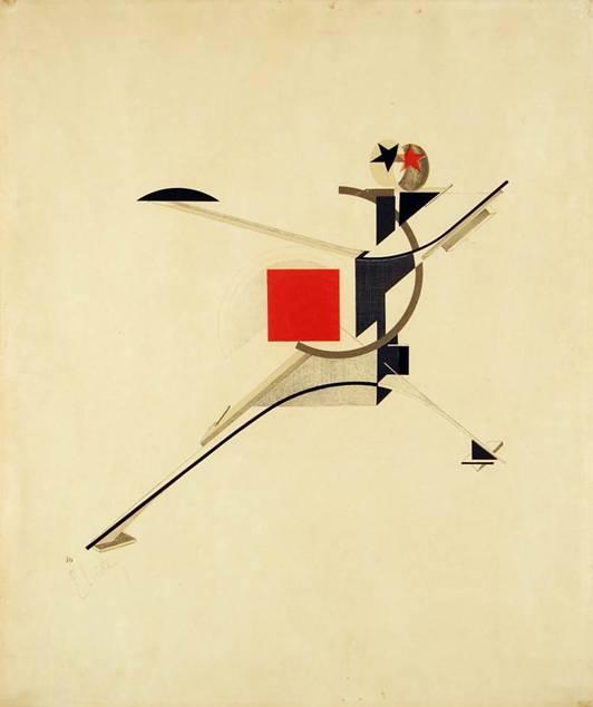Rus ressam, tasarımcı, tipografist, grafiker, desinatör ve fotoğrafçı El Lissitzky (1890-1941), birçok çalışmasının yanında SSCB'nin propaganda çalışmalarına dizaynlarıyla katkıda bulundu. Uzayın gündeme gelmesi, insanın öneminin yeniden değerlendirilmesi gereğini doğurdu. El Lisstsky, Süprematist olarak da değerlendirilir ama yanlıştır. İddialı dikeyleriyle yatayları Mondrian'ı ne kadar Konstrüktivist yaparsa, grafik çalışmalarında diagonallere duyduğu eğilim de El Lissitsky'i o kadar Süprematist yapar. Bu, biçem sorunu değildir. Amaç sorunudur. Çalışmaları 20. yüzyılın grafik sanatına yön vermiştir. Güneşe Karşı Zafer, Yeni İnsan, taş baskı, 1923. Tate Modern, Londra.